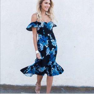 Off the shoulder blue floral dress. Never worn.